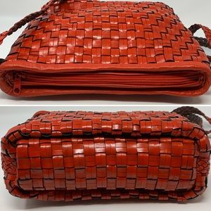 Vintage Bags - VTG Woven Red Leather Crossbody Bag